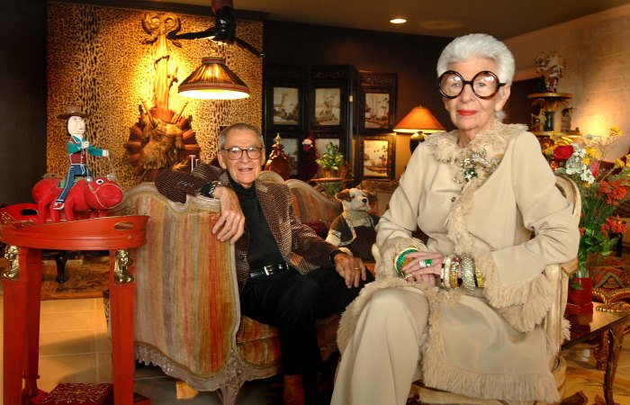 Carl and Iris Apfel in their Palm Beach home, May 10, 2007.